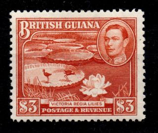 British Guiana Sg319a 1946 $3 Bright Red - Brown Mtd photo