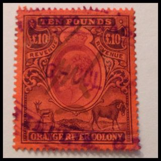 Orange River Colony 1900 £10 Orange Fine Duty Stamp As Per Scans photo