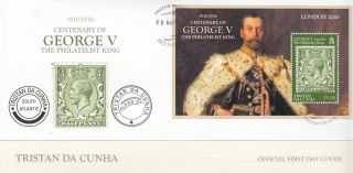 Tristan Da Cunha 2010 Fdc Cent George V Philatelist King 1v Sheet Cover London photo