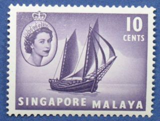 1955 Singapore 10c Scott 34 S.  G.  44 Cs00660 photo