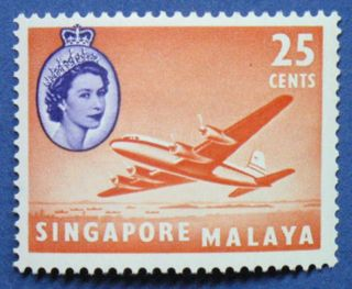 1955 Singapore 25c Scott 37 S.  G.  47 Cs00662 photo