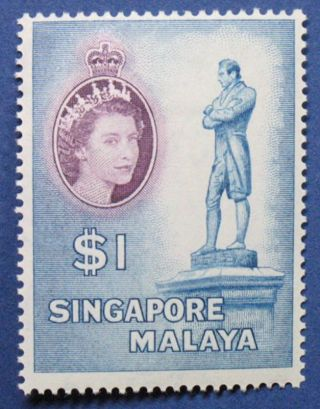 1955 Singapore $1.  00 Scott 40 S.  G.  50 Cs00664 photo