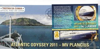 Tristan Da Cunha 2011 Fdc Atlantic Odyssey Mv Plancius 1v Sheet Cover Expedition photo