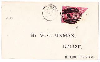 British Honduras/belize:1891 Cover Franked With Sc 28 & 28a (diag 2c As 1c) photo