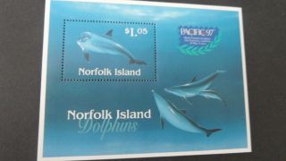 Norfolk Island 1997 Ms643 Dolphins Pacific 97 photo
