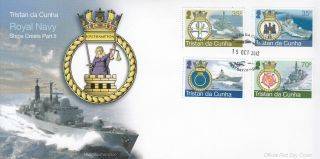 Tristan Da Cunha 2012 Fdc Royal Navy Ships Crests Part Ii 4v Cover Hms Portland photo