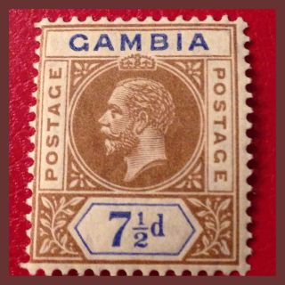 Gambia 1910 - 36 : 7.  5d King George V Brown & Blue Mounted As Per Scans photo