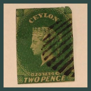 Ceylon Qv Chalon 1857 - 59 Yellow - Green Two Pence Imperf Fine As Per Scans photo