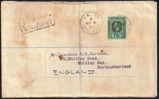 Seychelles 1924 75c Sg 118 Envelope With Contents Victoria 6 May 1936 photo