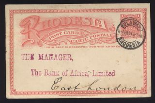 Rhodesia 1901 Arms Stationery Card To Bank Africa Cape photo
