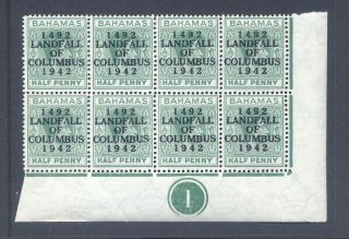 Bahamas 1942 Landfall Columbus Dot In O. .  Cyl Block Of 8 photo