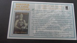 Norfolk Island 2000 Ms 737 Olymphilex Stamp Ex photo
