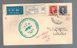 1933 Baghdad Iraq First Flight Cover Klm To Penang Malaya And Singapore Ffc photo