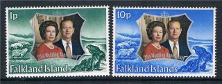 Falkland Is 1972 Silver Wedding Sg 289 - 90 photo