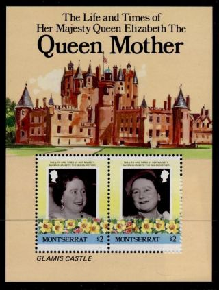 Montserrat 562 Queen Mother 85th Birthday,  Flowers,  Castle photo