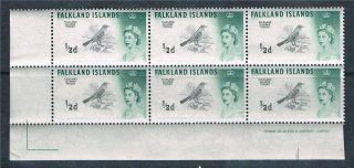 Falkland Is 1960 0.  5d Black & Green Dlr Imprint Block 6 Sg193a photo