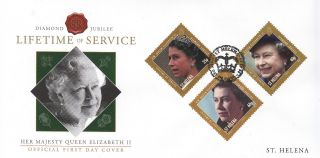St Helena 2012 Fdc Diamond Jubilee Part I 3v Cover Queen Elizabeth Ii Lifetime photo