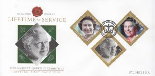 St Helena 2012 Fdc Diamond Jubilee Part Ii 3v Cover Queen Elizabeth Ii Lifetime photo