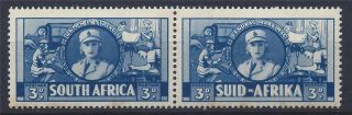 South Africa 1941 Sg91 3d Blue Bilingual Pair Mh A 004 photo