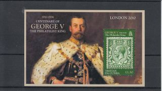 Tristan Da Cunha 2010 Centenary George V Philatelist King 1v Sheet London photo