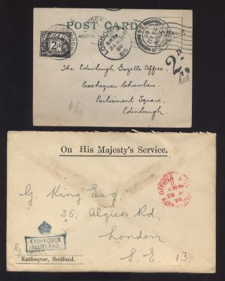 Postage Due Gb 1920 2d Ohms Official Scotland Exchequer photo