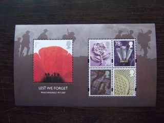 Ms2796 2007 Lest We Forget (2nd Issue) Royal Mail Miniature Sheet photo