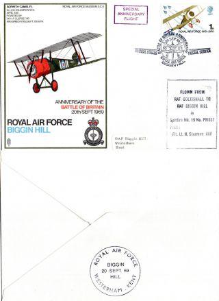 1969 Biggin Hill Rafm Sc6 Flown Commemorative Cover photo