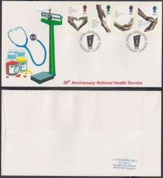 1998 50th Anniv.  National Health Service Scarce Stamp Searchers Fdc; Canterbury photo