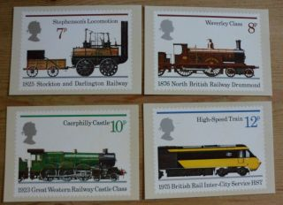 Great Britain Phq Cards,  1975,  150th Ann Of Public Railway,  Sg984 - 987, photo