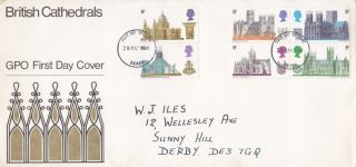 Gb 1969 British Cathedrals First Day Cover Derby Fdi photo