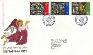 13 October 1971 Christmas Post Office First Day Cover Bureau Shs (a) photo