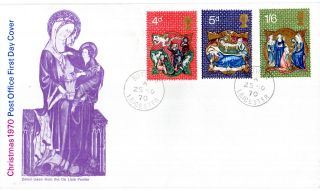 25 November 1970 Christmas Post Office First Day Cover Rothley Cds photo