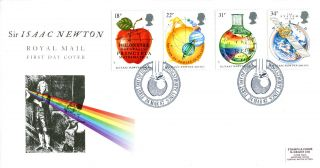 24 March 1987 Sir Isaac Newton Royal Mail First Day Cover Woolsthorpe Shs Label photo
