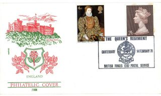 1970 The Queens Regiment Commemorative Cover Canterbury Bfps 1202 Shs photo