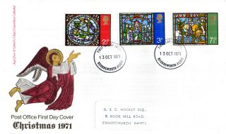 13 October 1971 Christmas Post Office First Day Cover Bournemouth Fdi photo
