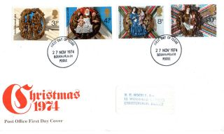 27 November 1974 Christmas Post Office First Day Cover Bournemouth Fdi photo