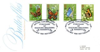 13 May 1981 Butterflies Post Office First Day Cover Nottingham Trust Shs photo