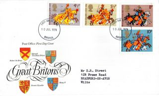 10 July 1974 Great Britons Post Office First Day Cover Bristol Fdi photo