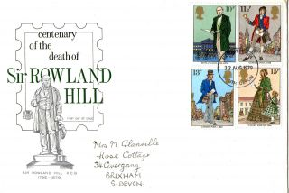 22 August 1979 Sir Rowland Hill Stuart First Day Cover South Devon Fdi photo