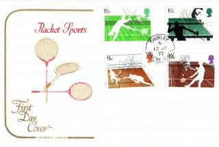 12 January 1977 Racket Sports Cotswold First Day Cover Thurley Lincs Cds photo