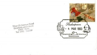 4 March 1993 Greetings Cover William Shakespeare Stratford Upon Avon Shs (b) photo