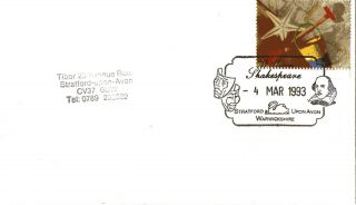 4 March 1993 Greetings Cover William Shakespeare Stratford Upon Avon Shs (a) photo