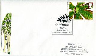 14 September 1993 Autumn First Day Cover Rowanburn Canonbie Dumfries Shs photo