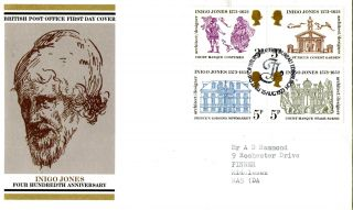 15 August 1973 Inigo Jones Post Office First Day Cover Bureau Shs (a) photo