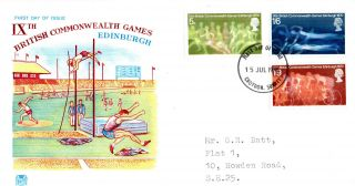 15 July 1970 Commonwealth Games Stuart First Day Cover Croydon Surrey Fdi photo