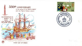 1 April 1970 Mayflower Stuart First Day Cover Scrooby Doncaster Shs photo