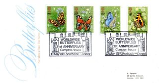 13 May 1981 Butterflies Post Office First Day Cover Compton House Shs photo