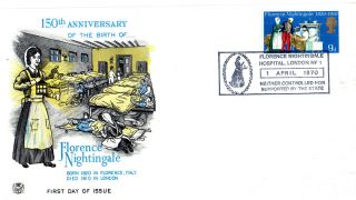 1 April 1970 Florence Nightiingale Stuart First Day Cover Fn Hospital Shs photo