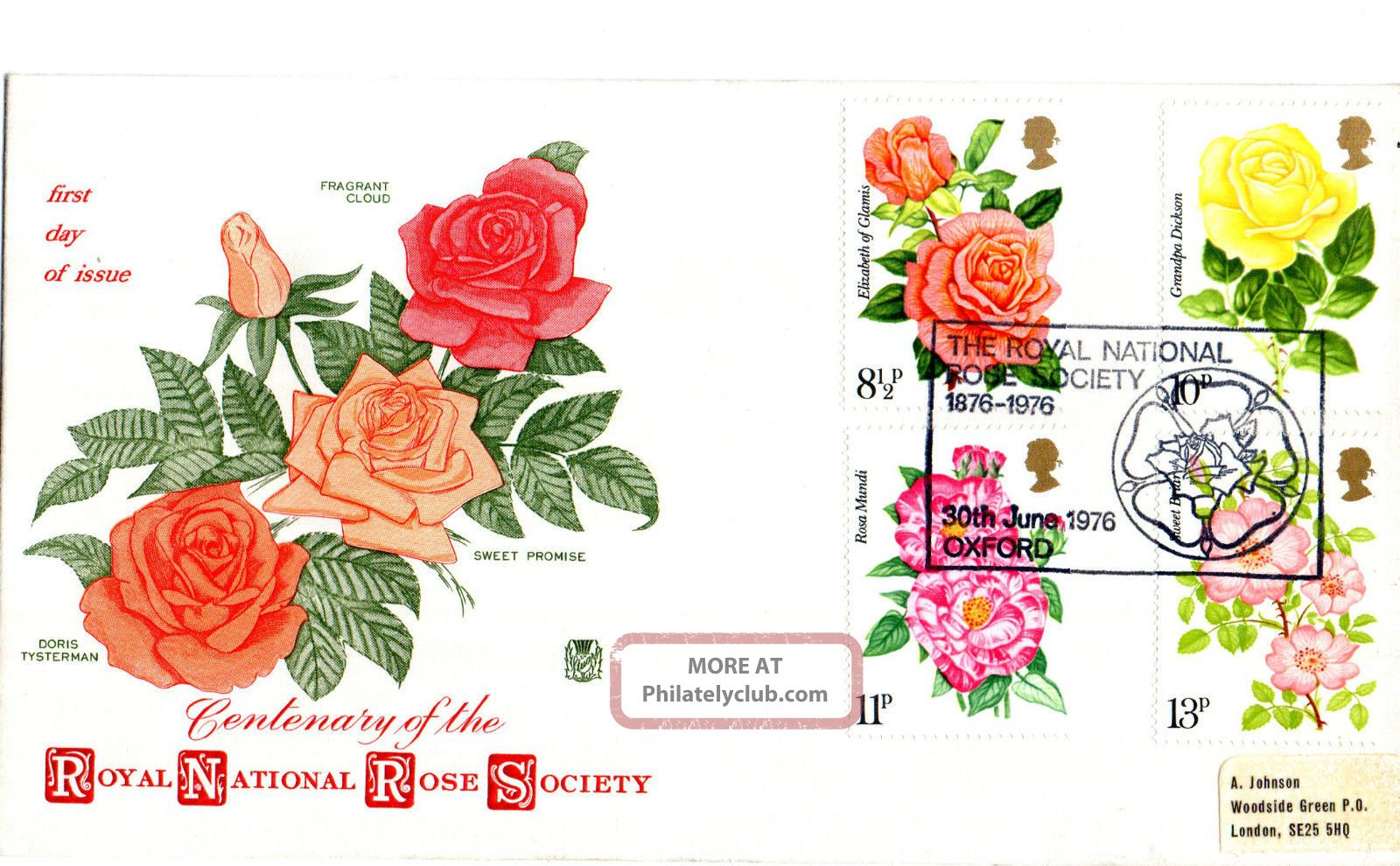 30 June 1976 Roses Stuart First Day Cover National Rose Society Oxford Shs Topical Stamps photo