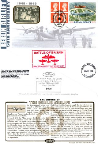 12 May 1999 Berlin Airlift Label Benham Blcs 156 First Day Cover Watford Shs photo